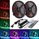 AMBOTHER LED Streifen LED Strip 10M RGB 5050SMD 300 LED Lichtband IP65 Wasserdicht LED Bänder Lichterkette mit Netzteil 44 Tasten IR Fernbedienung selbstklebend Kit für Innen außen Beleuchtung Deko