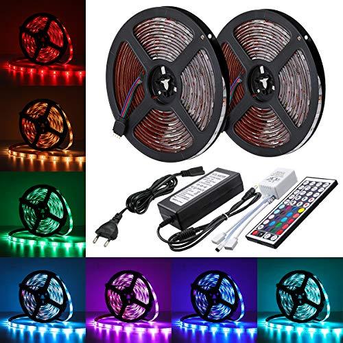 AMBOTHER LED Streifen LED Strip 10M RGB 5050SMD 300 LED Lichtband IP65 Wasserdicht LED Bänder Lichterkette mit Netzteil 44 Tasten IR Fernbedienung selbstklebend Kit für Innen außen Beleuchtung Deko