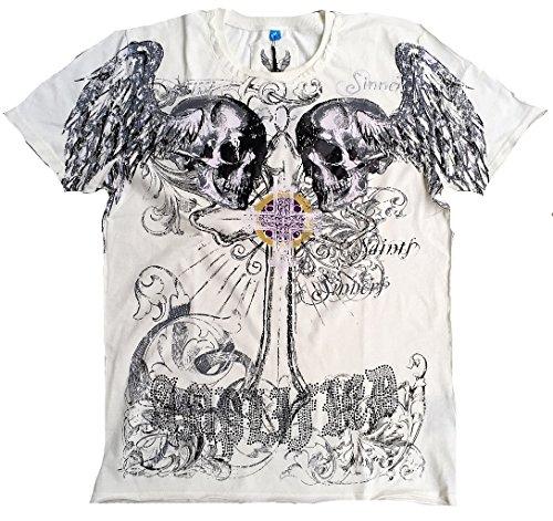 Amplified Herren T-Shirt Weiss Saint Sinner HOLY SKULL Strass Gothic Cross Holly Totenkopf Engel Tattoo Designer Special Edition Rock Star Vintage Nähte Aussen XXL 56 -