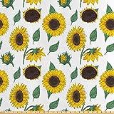 ABAKUHAUS Sonnenblume Stoff als Meterware, Von Hand