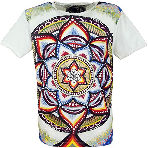 GURU-SHOP, Camiseta Espejo, Mandala/Blanco, Algodón, Tamaño:L, Camisetas Seguras