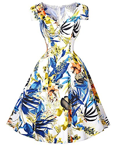 Femmes 1950'S Audrey Hepburn Robe Impression de Robe de Soirée Rockabilly Swing Bleu