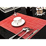 Sets de Table (Lot de 6), Soriace® Sets de Table Vinyle Antidérapant, Set Table Napperons / Tapis de Table Taille 45 x 30, rouge