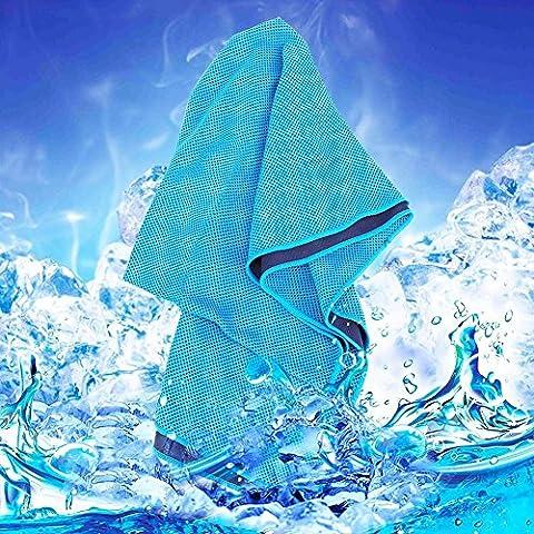 Ybb Serviette de refroidissement réutilisable, absorbant Serviette, Serviette de refroidissement instantané doux et respirant pour entraînement, fitness, course à pied et d'autres sports, bleu