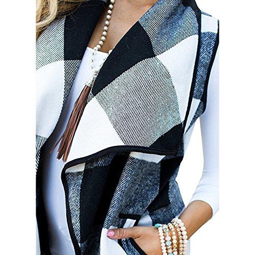 Gilet À Carreaux Pour Femmes, Printemps Automne Revers Ouvert Avant Gilet Sans Manches Veste Gilet Avec Poches Casual Manteau En Laine Outwear Noir Blanc