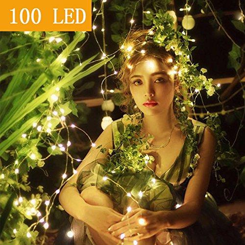 MOVEONSTEP 100 LED Lichterketten 8 Beleuchtung Modi Lichterketten DC 31V Niedervolt DE Stecker Sternenlichter Geeignet für Weihnachten, Party, Garten, Hochzeit Veranstaltungen-Warmes Weiß (Warme Led-weihnachts-beleuchtung)