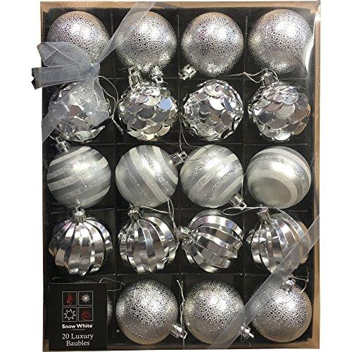 Weihnachtskugeln, luxuriöses Design, verschiedene Farben (Weiß / Gold / Silber / Rot), 20-teiliges Set   silber (Gold Sticks Und Candle Silber)