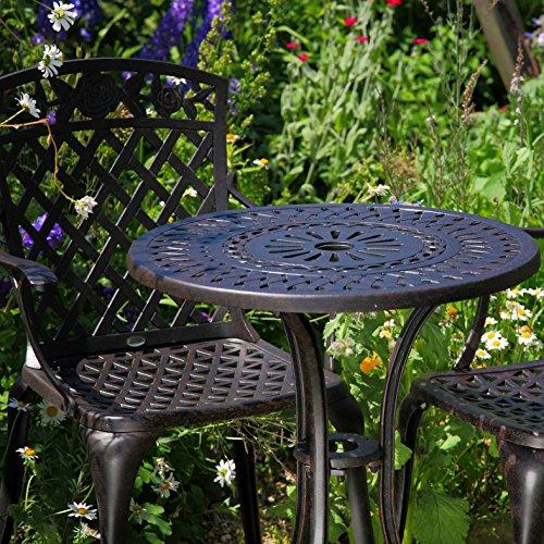 Lazy Susan - EVE 60 cm Bistrotisch mit 2 Stühlen - Rundes Gartenmöbel Set aus Metall, Antik Bronze (Rose Stühle) -