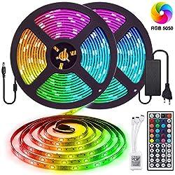 10M Tira LED RGB 5050, Tiray Ledy Flexible Multicolor 300 LEDs Strip Tiras LED de Luces LED Kit Completo para Hogar, Restaurante, Cocina, Porche, Oficina, Dormitorio Incluyendo Adaptador
