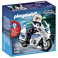 Playmobil 5180 Police Motorcycle With Flashing Light