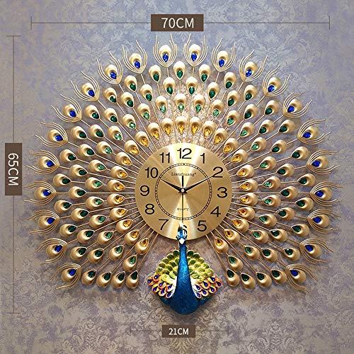Dudu Home Dekoration Europäische Pfauen Wand Uhr Crystal Wohnzimmer Uhr Kreative Persönlichkeit Kunst Dekoration Wanduhr,Gold