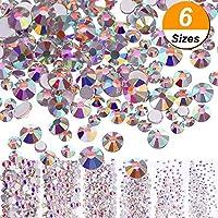 3456 Piezas de Cristales AB de Uña Diamantes de Imitación de Arte de Uña Cuentas Redondas Gemas Planas Piedras de Uñas, 6 Tamaños para Decoración de Uñas Artesanía Maquillaje de Ojo Ropa Zapatos