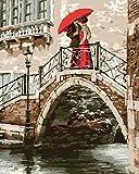 WOWDECOR Malen nach Zahlen Kits Geschenk für Erwachsene Kinder, DIY Ölgemälde Home Haus Dekor - Romantische Brücke Süße Liebhaber 16 x 20 Zoll (Z27, Ohne Rahmen)