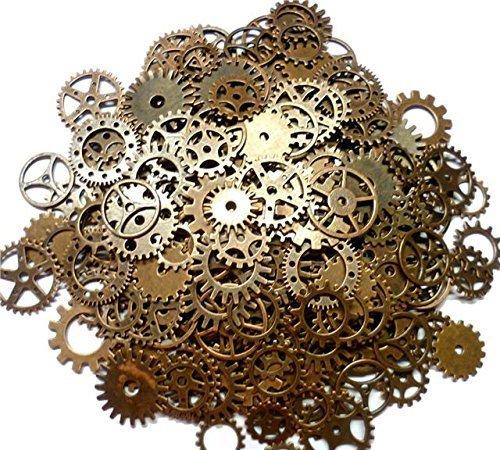 Wskderliner Antique Gears Räder Skeleton Steampunk Anhänger Charms Uhr Uhr Getriebe Räder Bronze DIY Handwerk Zubehör für Schmuck machen Cosplay Kostüm Dekoration 1 Beutel / 100g