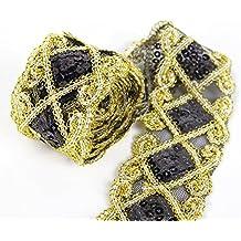 Lentejuelas de malla de encaje con cinta de encaje para costura y  manualidades 1f176f21039c