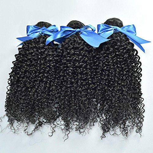 silien Jungfrau Kinky Gelockt Menschliches Haar 3 Bundles Menschenhaarverlängerungen Brasilien Jungfrau Haare Natürliche Farbe , 24 26 28 (Halloween-färbung Tischsets)