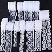 (50m) 10Rollos Encaje Cinta Blanco Boda Decoración Manualidades Bricolaje DIY Costura (5m/rollo)
