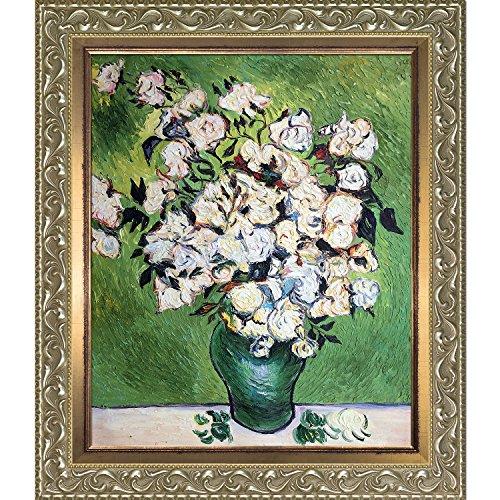 overstockart Vase mit Rosen von Vincent van Gogh handbemalt Öl auf Leinwand mit Rokoko silber und...