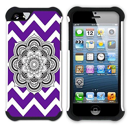 Graphic4You Mandala Blume Winkel Muster (Wasserblau) Hart + Weiche Kratzfeste Hülle Case Schale Tasche Schutzhülle für Apple iPhone SE / 5 / 5S Lila