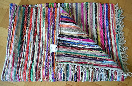 Tappeti In Tessuto Riciclato : Fb funkybuys® eco friendly multicolore chindi rag tappeti stripped