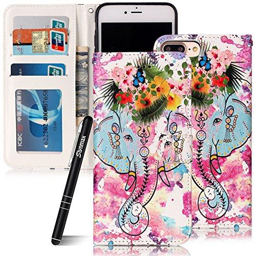 Custodia iPhone 7 Plus , Slynmax Custodia Portafoglio [Slot Per Schede] [Chiusura Magnetica] [Funzione Stand] [Cuoio PU] Custodie Protettive Ultra Sottili Custodie Protettive Magnetic Closure Carte di Elefante