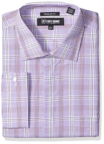 Stacy Adams Men's Big and Tall Window Pance Check Classic Fit Dress Shirt, Purple, 16.5