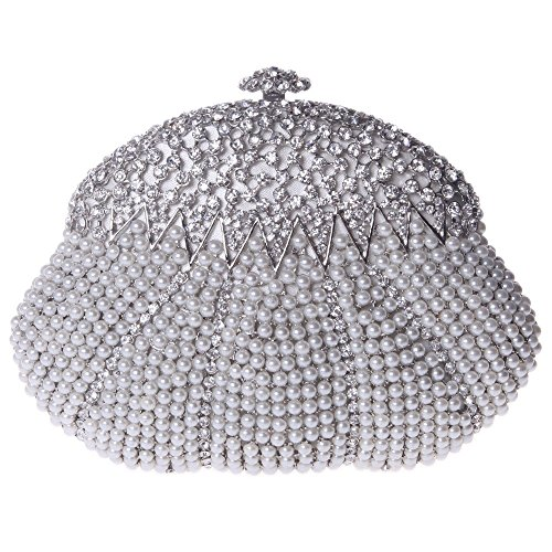 Santimon Donna Pochette Borsa Forma Di Zucca Diamante Cristallo Borsellini Perla Borse Da Festa di Nozze Sera Con Tracolla Amovibile 2 Colori argento