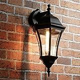 Rustikale Wandaußenleuchte Warschau in schwarz mit E27 Fassung bis 60 Watt 230V Wandlampe Wandleuchte Außenlampe Gartenleuchte für Hof Terrasse