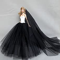 Mini Elegant Doll Dress,Evening Wear Princess Large Tailed Wedding Dress,Noble Party Gown for Barbie Doll Outfit by Leoie