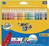 BIC Kids Kid Couleur Feutres de Coloriage à Pointe Moyenne - Couleurs Assorties, Etui Carton de 36