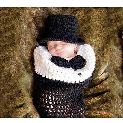 Tücher Baby Girl Boy Kleidung Crochet Knit Kostüm Foto Fotografie Prop Set Gentleman ()
