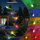 Qedertek Windspiele für Draußen, Solarleuchten LED Mobile Windspiele Farbwechsel, Solarbetriebene Gartenlampe Hängeleuchte fü