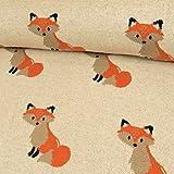 Strickstoff Baumwolle Fuchs Natur Modestoff Kinderstoffe Tiermotiv - Preis Gilt für 0,5 Meter