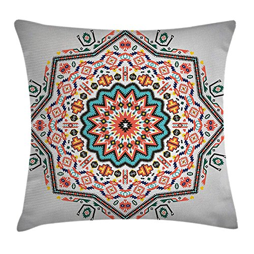 ZMYGH Tribal Throw Pillow Cushion Cover, Abstract Aztec Style Kaleidoscope Themed Boho Ethnic Sun Pattern Art Print, Decorative Square Accent Pillow Case, 18 X 18 Inches, Coral Turquoise (Aztec Sun-bikini)