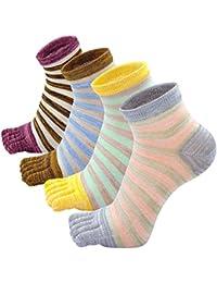 PUTUO Mujer cinco dedos calcetines de deporte, Algodón separados pies calcetines, 4 pares