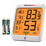 ThermoPro TP53 Hygrometer Humidity Gauge Indicator Digital Indoor Thermometer Room Temperature and Humidity Monitor with Touc