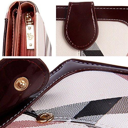 Artemis'Iris Compact Pocket Wallet Card Classic denaro Change Holder Bifold della frizione borsa corto con cerniera Coins Pocket, bordeaux black