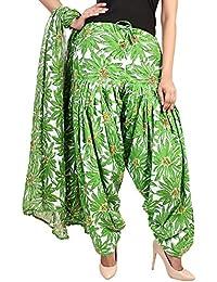 BILOCHI'S Women Printed Solid Cotton Full Patiala Salwar With Dupatta Set(Free, Size Green)