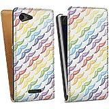 Sony Xperia E3 Tasche Schutz Hülle Walletcase Bookstyle Rainbow Schnurrbart Mustache