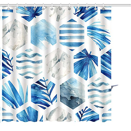 MuaToo Shower Curtain abstract geometric seamless pattern on light background watercolor hexagon with palm leaves waves Print Shower Hooks are Included -54