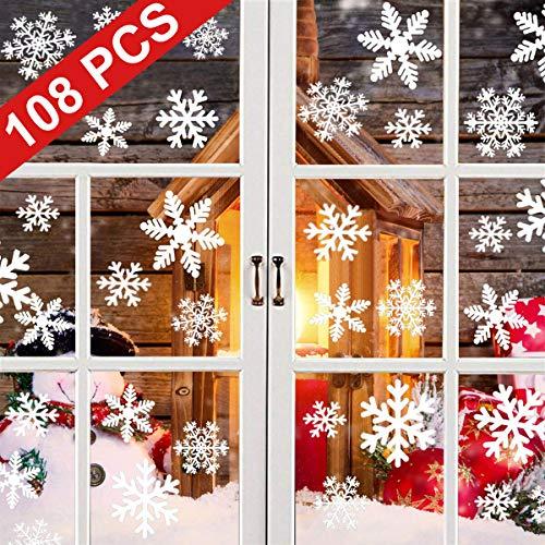 Yqhbe adesivo fiocco di neve, natale vetrofanie rimovibile adesivi murali finestra decorazione 108 pz fiocco di neve decorazioni natalizie fai da te sticker decorativi da finestra