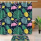 GoHEBE Ananas Decor Tropical Fruit Pflanzen Swan 180,3x 180,3cm Schimmelresistent Polyester Stoff Vorhang für die Dusche Anzug mit 39,9x 59,9cm Flanell rutschfeste Boden Fußmatte Bad Teppiche