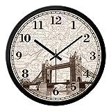 Orologio da parete di grandi dimensioni Shabby Chic stile vintage con London Tower Bridge Orologio da parete ( Size : 14in )