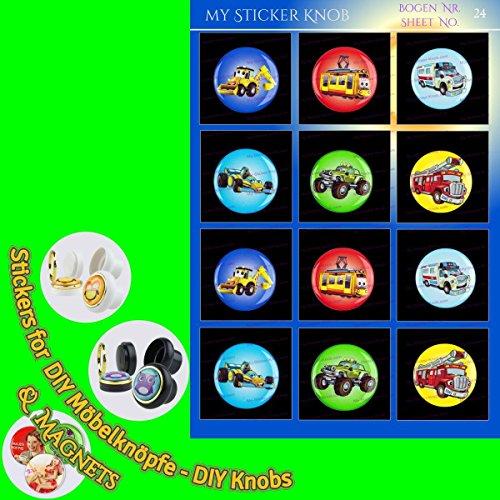 Do it yourself MOTIV DIY Bogen24 Kinder Autos Fahrzeuge 12er für DIY Möbelknöpfe und DIY Magnete für Schrank, Schublade, Kommode, Tür, Küche, Bad, Haushalt, Kinderzimmer, Kühlschrank, Büro, Whiteboard - 21mm - Kommode Autos Knöpfe