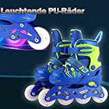 Weskate Inline Skates Für Jungen Mädchen /Jugendliche Einstellbare Inline Skate Kinder Blinkende Beleuchtung Räder Rollschuhe PU Breites Rad Rollerblades Stilvolles Design Outdoor Rollerskates (S 31-34 / M 35-38 / L 39-42 ) (Blau, L (39-42))