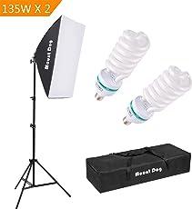 MOUNTDOG Fotografie Studio Beleuchtung Kit Softbox Reflektor 2x135W Dauerlicht Birne mit Tragetasche Reflektor Einstellbare Ständer Fotografie Ausrüstung für Fotoshooting Video Blogging Portrait