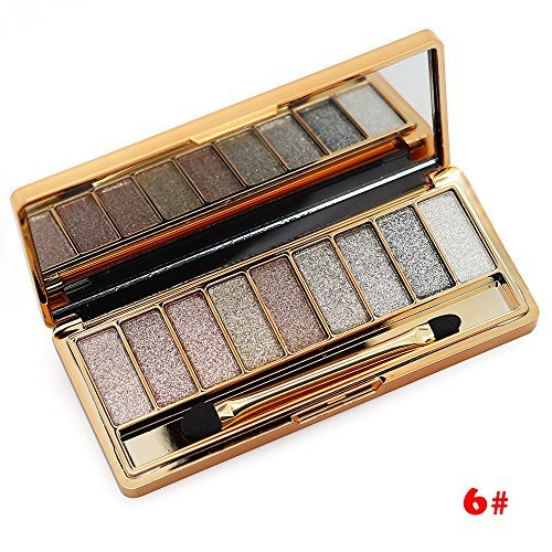 TANALI 9 Colors Diamond Glitter Makeup Smoky Eyeshadow Palette Professional Cosmetic With Brush 6#