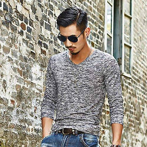 Maglietta a maniche lunghe uomo, DoraMe uomo maniche lunghe slim fit cotone O-collar T-shirt 2017 Autunno Inverno Grigio