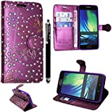 SAMSUNG GALAXY S3 S III MINI I8190 PU LEATHER MAGNETIC FLIP CASE SKIN COVER POUCH + GUARD +STYLUS (PURPLE AND WHITE BOOK)