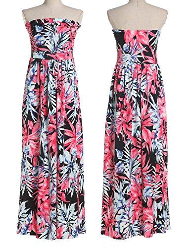 CARINACOCO Damen Bandeau Bustier Kleider mit Blüte Drucken Lange Sommerkleid Abendkleid Partykleid Cocktailkleid Geblümt12